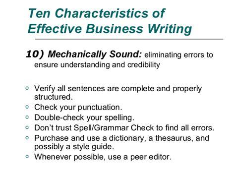 business letters characteristics ten characteristics in effective written communication