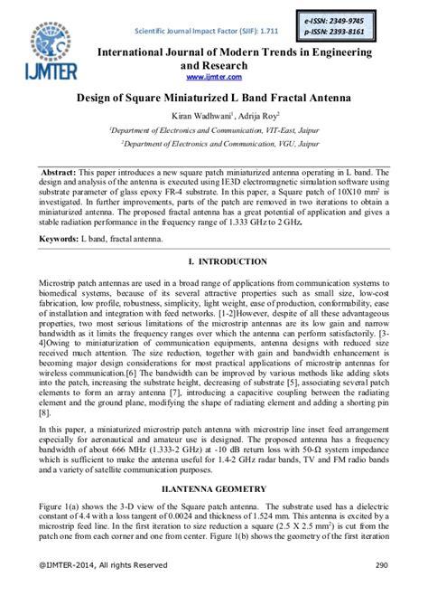 design studies journal impact factor design of square miniaturized l band fractal antenna