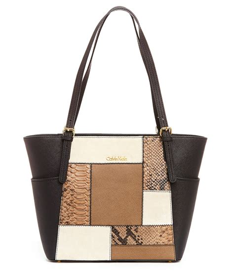 Patchwork Tote - calvin klein saffiano patchwork tote in black lyst