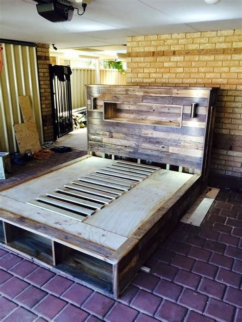 pallet bed frame with lights diy pallet bed with headboard and lights 101 pallet