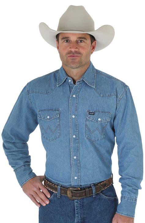 Western Denim Shirt s wrangler western denim shirt stonewashed