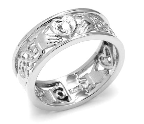 white gold claddagh wedding band with celtic knot