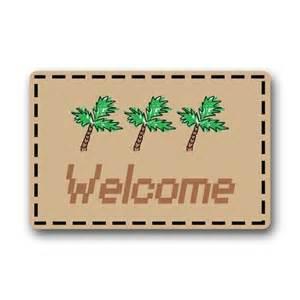 Entrance Mats For Homes Akf Shop Decorative Retro Vintage Tropical Hawaii Palm