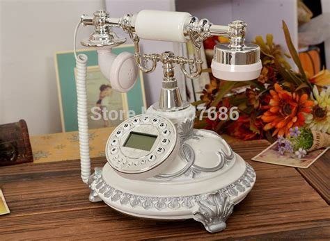 Vintage Reproduction Home Decor White Reproduction Retro Phone Resin Metal Corded Telephone Classic Vintage Antique Phone Craft