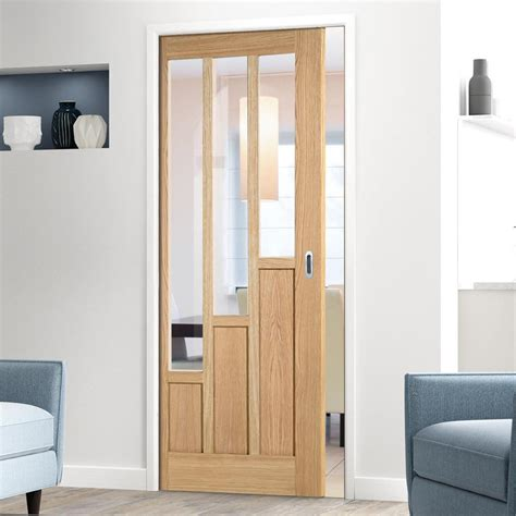 single pocket coventry oak 6 panel door with clear safety glass prefinished