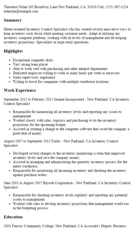 Inventory Specialist Resume inventory specialist resume template best design
