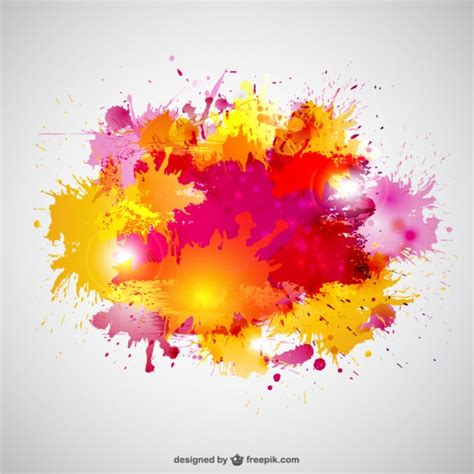 color splatter paint splashes in yellow and pink colors vector free