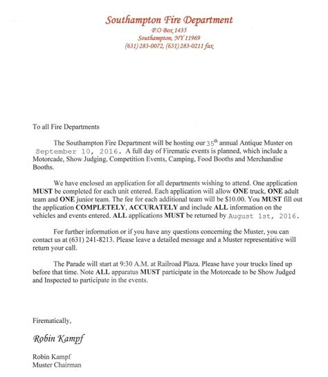 Business Letter Muster southton fd muster forms southton department