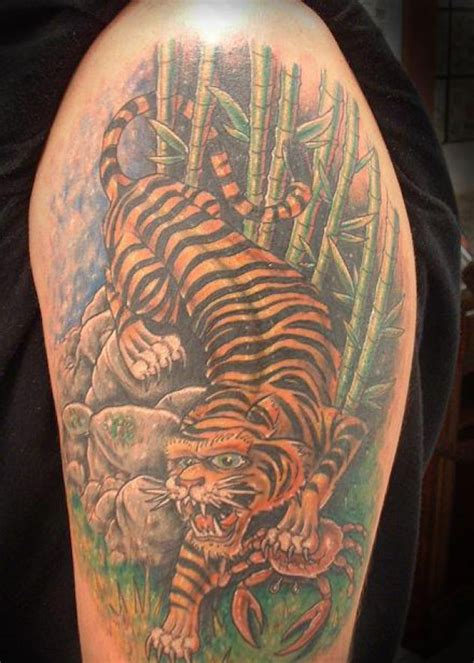 forest scene tattoo tiger forest on biceps photo 3 2017 real
