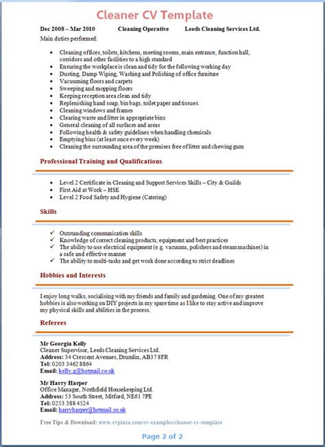 Curriculum Vitae Sles For Housekeeping cleaner cv template 2
