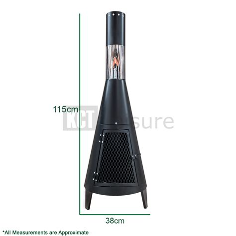 Contemporary Garden Chiminea 120 Cm Outdoor Patio Log