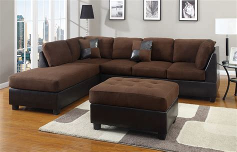 Chocolate Sectional Couch 3 Pc Set Microfiber Sofa 3 Pc Sectional Sofa