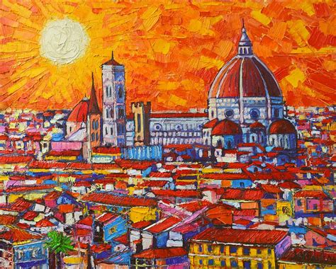 florence the paintings abstract sunset over duomo in florence italy painting by ana maria edulescu