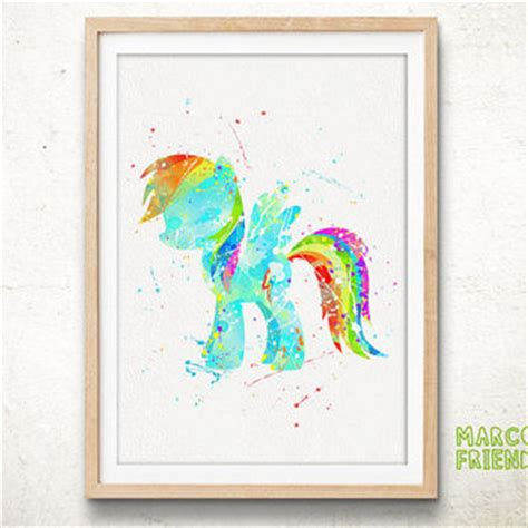 my little pony bedroom accessories pony rainbow dash watercolor art print from marcofriend on