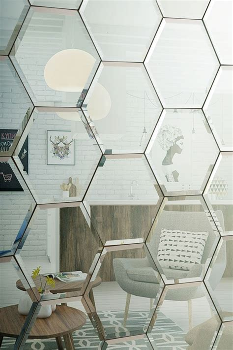 Octagon Dining Room Table hexagonal bevelled mirror tiles silver mirrored