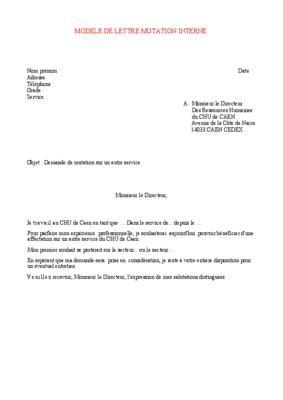Exemple De Lettre De Demande Mutation modele attestation mutation pdf notice manuel d utilisation