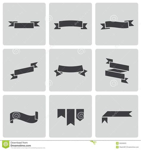 jpg to eps format vector black ribbon icons set stock vector illustration