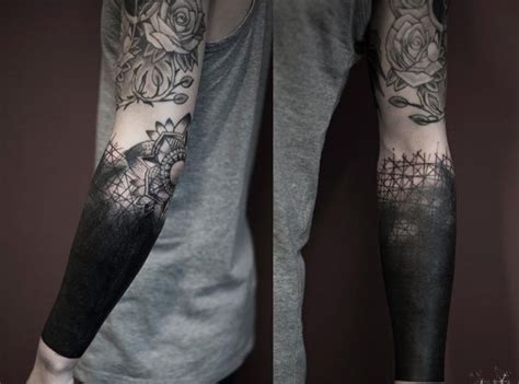 blacked out arm tattoo black arm ideas arm