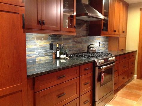 slate backsplash kitchen kitchen remodel cherry cabinets slate backsplash