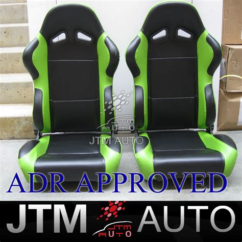 green racing seats bn jtm pair black and green racing sport seats adr