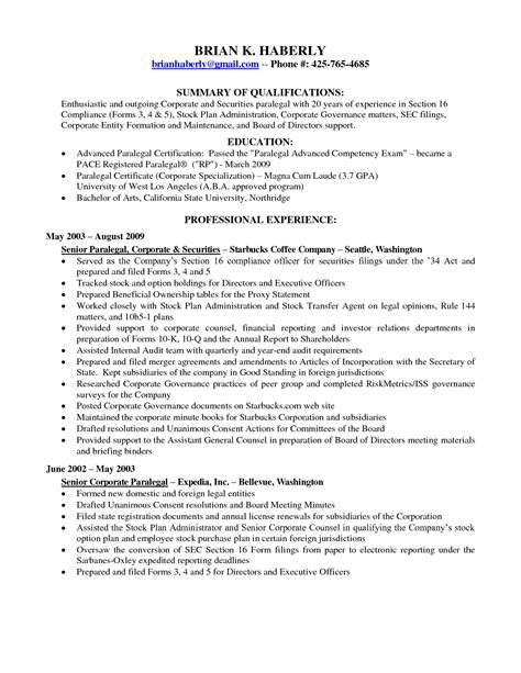 Paralegal Resume Sle by Corporate Paralegal Resume Sle 28 Images Sle