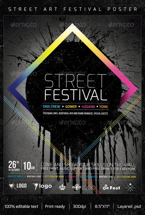 street art graffiti festival creative poster graphicriver