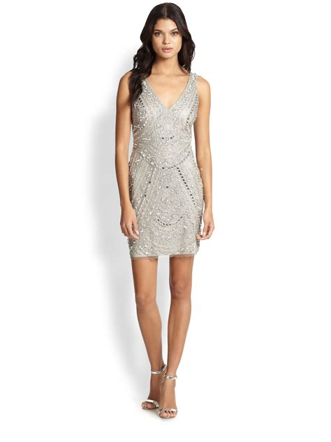 silver beaded dress aidan mattox beaded dress in metallic lyst