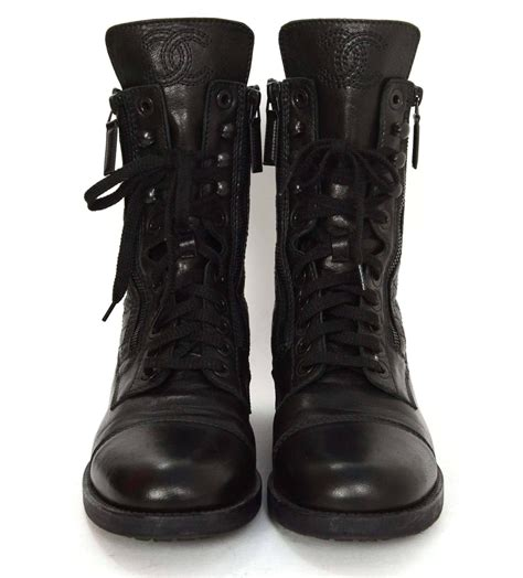 black leather combat boots chanel black leather lace up combat boots sz 39 at 1stdibs