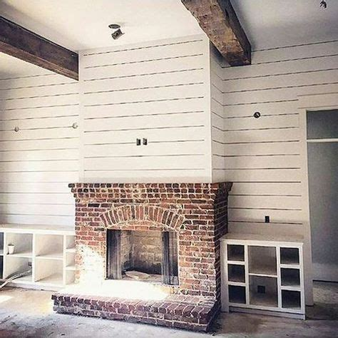 image result  shiplap fireplace  red brick rustic