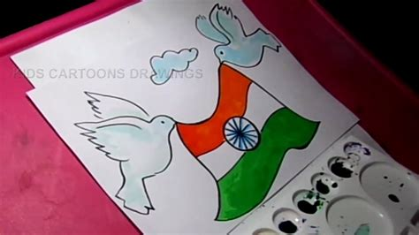 Drawing 6 Hours A Day by How To Draw Happy Independence Day Flag And Pigeon Drawing