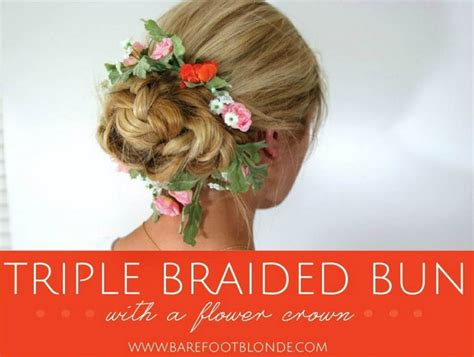 the triple braided bun with flower crown hairstyle design page 4 of triple braided bun with flower crown 101 pinterest