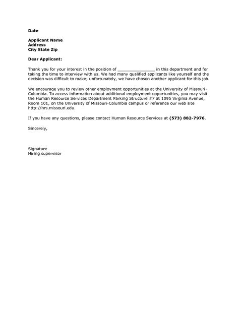 Rejection Letter Position Filled best photos of human resources rejection letter sle