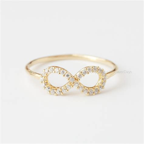 us size 6 5 simple crystals infinity ring in gold on luulla