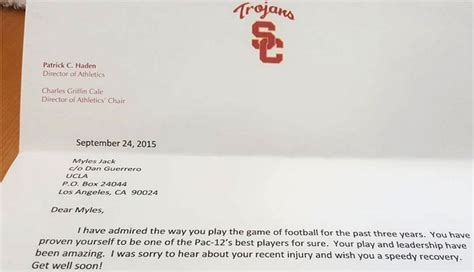 Acceptance Letter Usc Look Usc Ad Sent Ucla Myles A Letter Following Knee Injury Cbssports