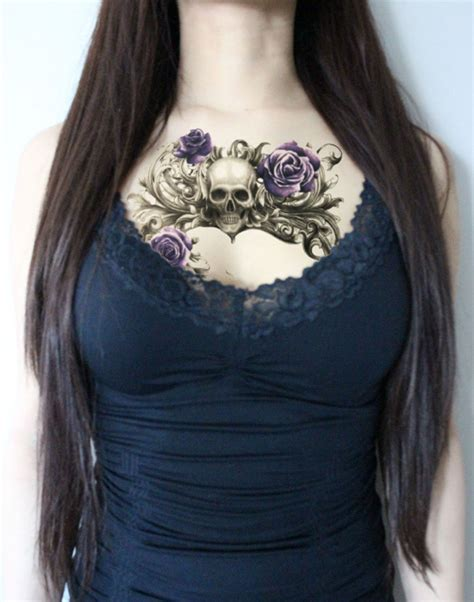 floral chest tattoo skull temporary floral temporary large