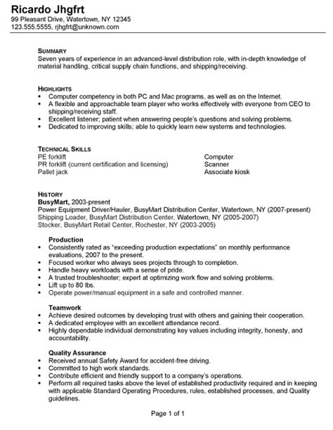 Resume Summary Exles For Warehouse Worker Resume For A Distribution Warehouse Worker Susan Ireland Resumes