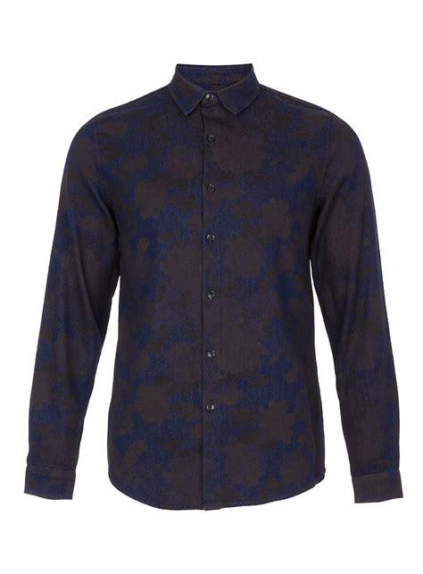 Denim Shirt X Sweater blue denim floral shirt mens shirts clothing topman usa pour homme
