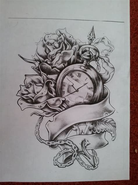 rose ribbon tattoo designs black ink skull with roses and pocket on thigh
