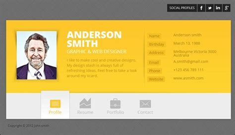 html vcard template 50 best vcard template for resumes 56pixels