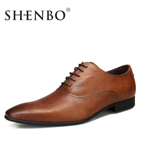 aliexpress buy shenbo brand leather derby shoes casual brown oxford high quality