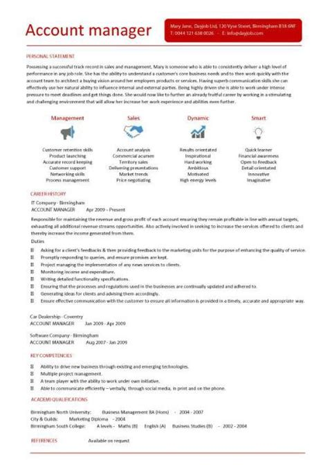 Account Manager Resume Exles by Account Manager Cv Template Sle 28 Images Sprint Sales