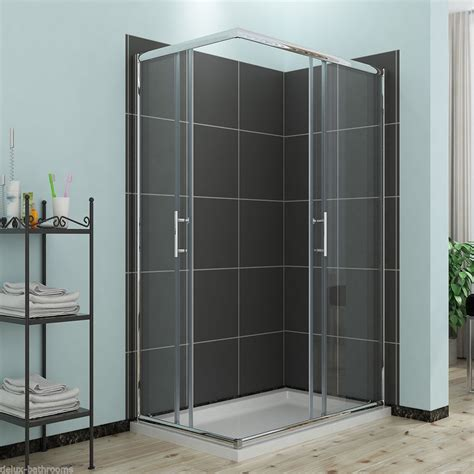 Shower Trays And Doors New 1100x700mm Corner Entry Shower Enclosure And Tray Sliding Glass Cubicle Door