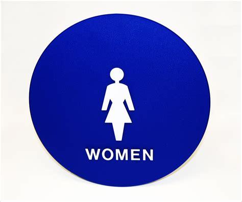 ladies bathrooms women restroom door sign title 24 compliant tap plastics