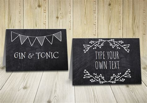 chalkboard place cards template rustic labels chalkboard labels buffet tent cards rustic
