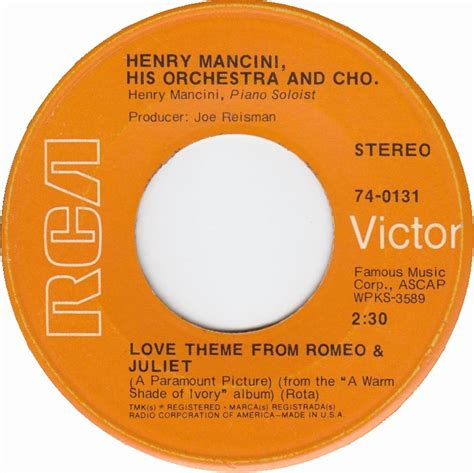 love theme from romeo and juliet by henry mancini 1969 all charts weekly top 40