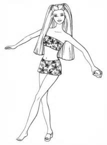 Barbie in a swimsuit coloring page   Free Printable