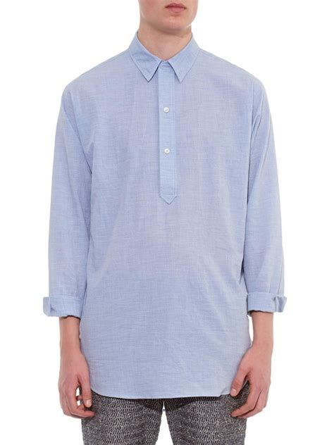 Sleeve Half Placket Shirt lyst raey line half placket cotton shirt in blue