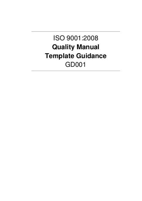 quality manual template guidance exle