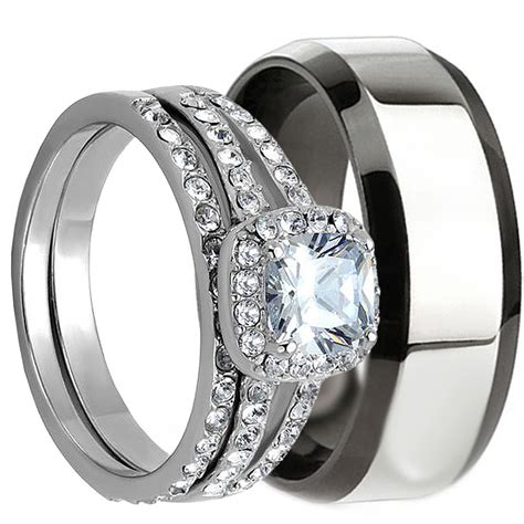 Matching Ring 3 pcs his and hers stainless steel matching wedding bridal