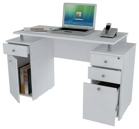 White Computer Desk With Drawers Laricina White Computer Desk With File Drawer Contemporary Desks And Hutches By Michael